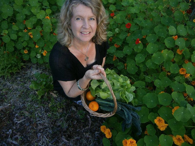 Kerrie Anderson in nasturtium field