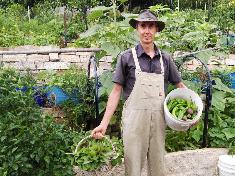 Jean holding vegetables